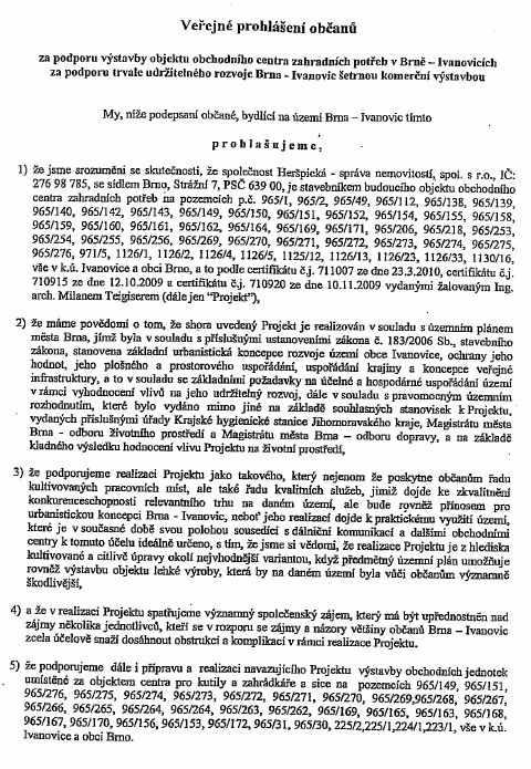 VAROVÁNÍ: po Ivanovicích koluje podezřelá petice